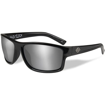 Harley-Davidson® HD Slick Smoke Grey Silver Flash Lens in a Gloss Black Frame by Wiley X® Sunglasses