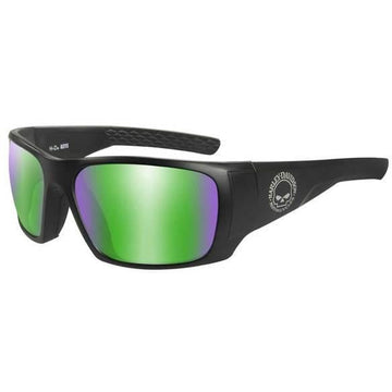 Harley-Davidson® Men's Keys Sunglasses, Green Mirror Lenses & Matte Black Frames