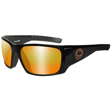Harley-Davidson® Men's Keys Sunglasses, Orange Mirror Lenses & Gloss Black Frames