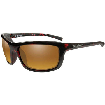 Harley-Davidson® Men's Pipes Sunglasses, Gold Lenses/Red Tortoise Frames WileyX