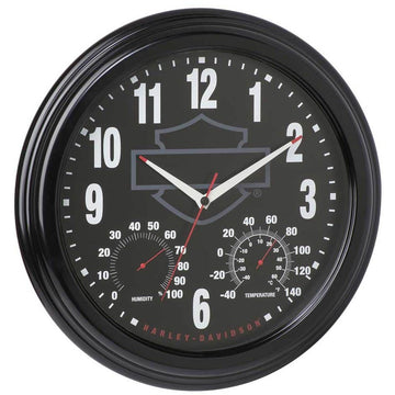 Harley-Davidson® Bar & Shield Outdoor 3-IN-1 Clock / Thermometer