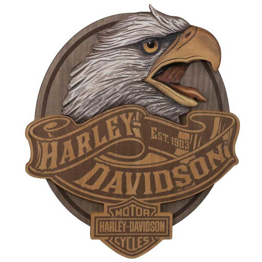 Harley-Davidson Homeware Harley-Davidson® Hand Carved Wood Eagle Bar & Shield Logo Pub Sign