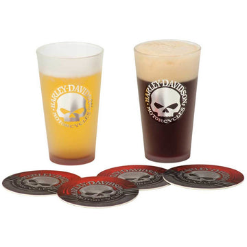 Harley-Davidson Homeware Harley-Davidson® Metallic Willie G Skull Logo Pint Glass & Coaster Set