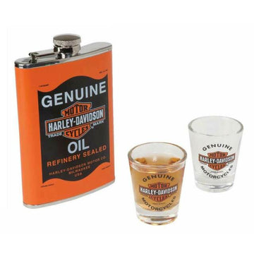 Harley-Davidson Homeware Harley-Davidson® Oil Can Flask & Shot Glass Gift Set