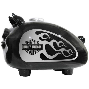 Harley-Davidson Homeware Harley-Davidson® Silver Flames Large Ceramic Hog Bank