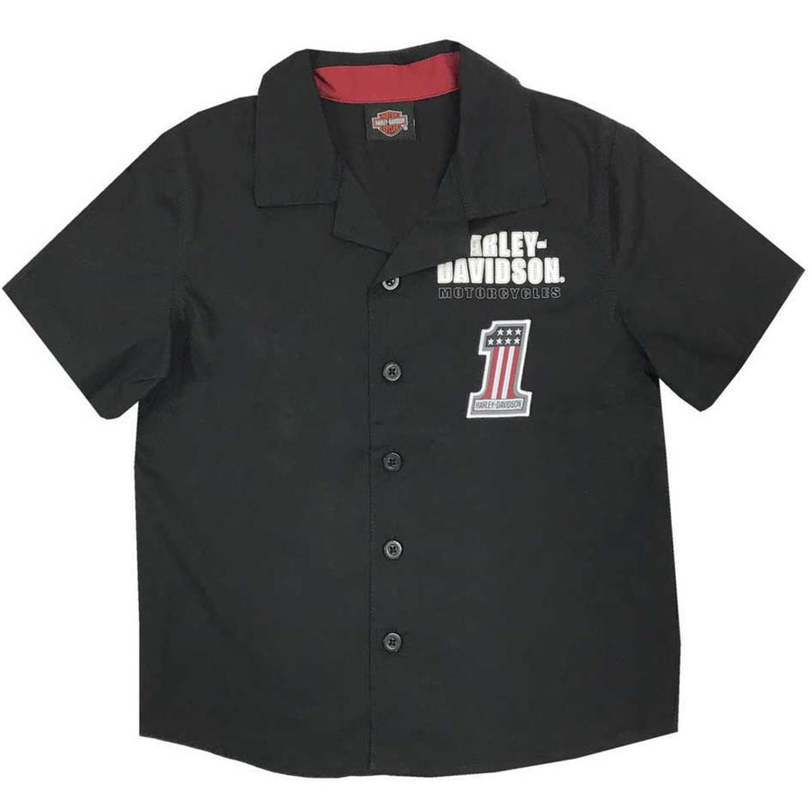 Harley-Davidson Kids Harley-Davidson® Big Boys' #1 RWB Short Sleeve Button Shop Shirt