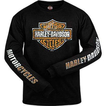 Harley-Davidson® Mens Black Shield Scratched Long Sleeve Tee