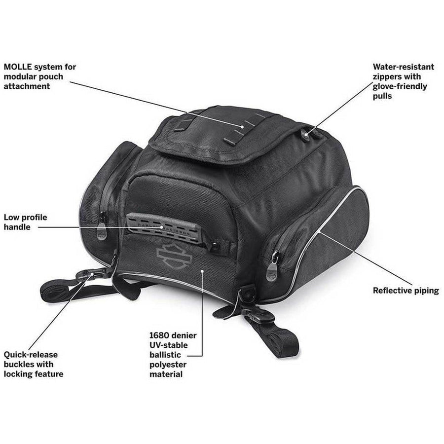 Harley-Davidson® Onyx Premium Luggage Tail Bag, Fits Passenger Pillions