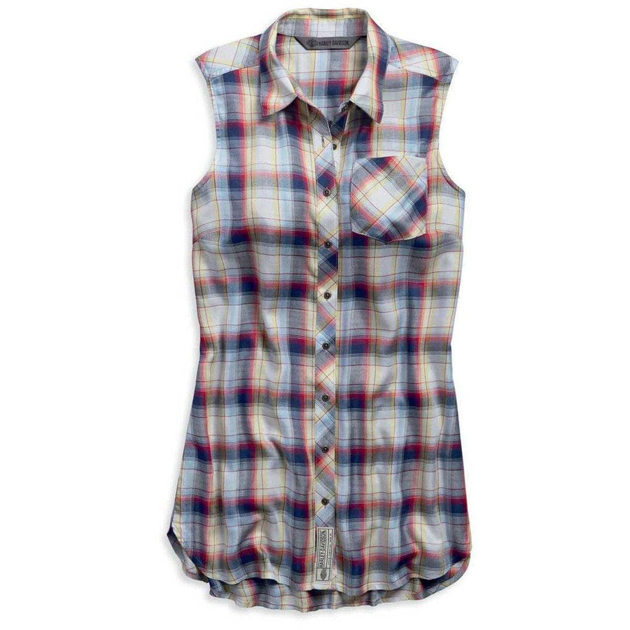 Harley-Davidson® Women's Printed Plaid Woven Sleeveless Shirt