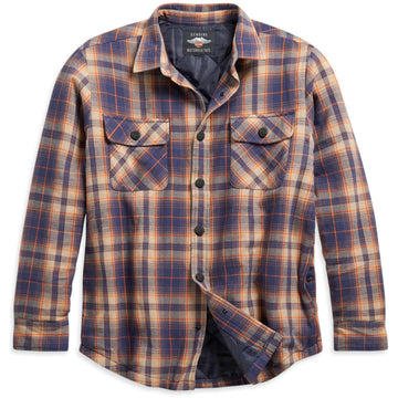 Harley-Davidson Shirts Men's Quilted Lining Plaid Shirt Jacket - Slim Fit