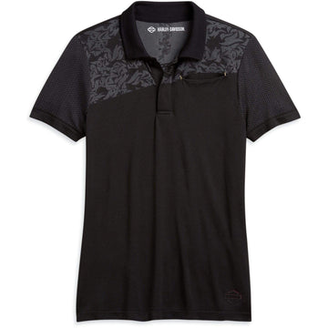 Harley-Davidson® Nearly Seamless Floral Jacquard Polo