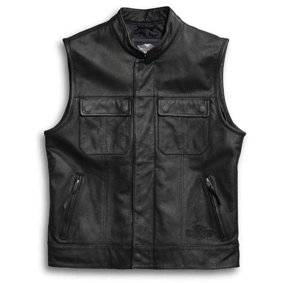 Harley-Davidson® Men's Leather Vest, Foster Reflective