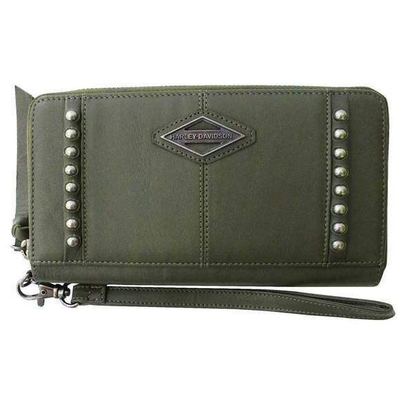 Harley-Davidson WALLET Harley-Davidson® Leather Olive Zip Around Clutch Wallet