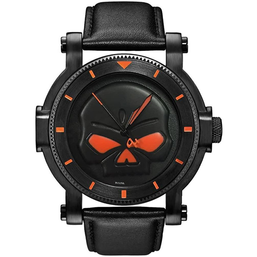 Harley-Davidson Watches Harley-Davidson® Men's Bulova Black Willie G Skull Wrist Watch