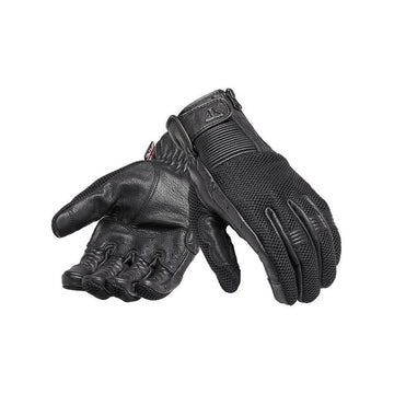Triumph Raven Mesh Black Leather Motorcycle Gloves