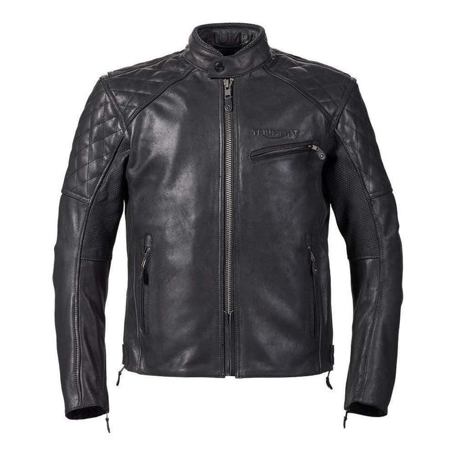 Triumph Arno Quilted Black Leather Motorcycle Jacket