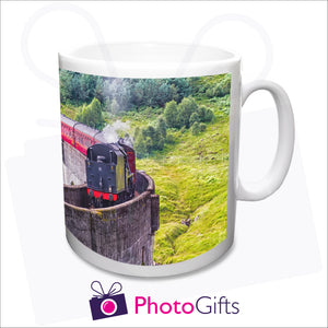 The UK's Cheapest Personalised Photo Mug at only £4. A high quality mug - this example shows the mug printed with a steam train crossing the Glenfinnan Viaduct in Scotland