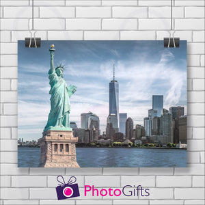 Landscape print of a view of Statue of Liberty as printed by Photogifts.co.uk