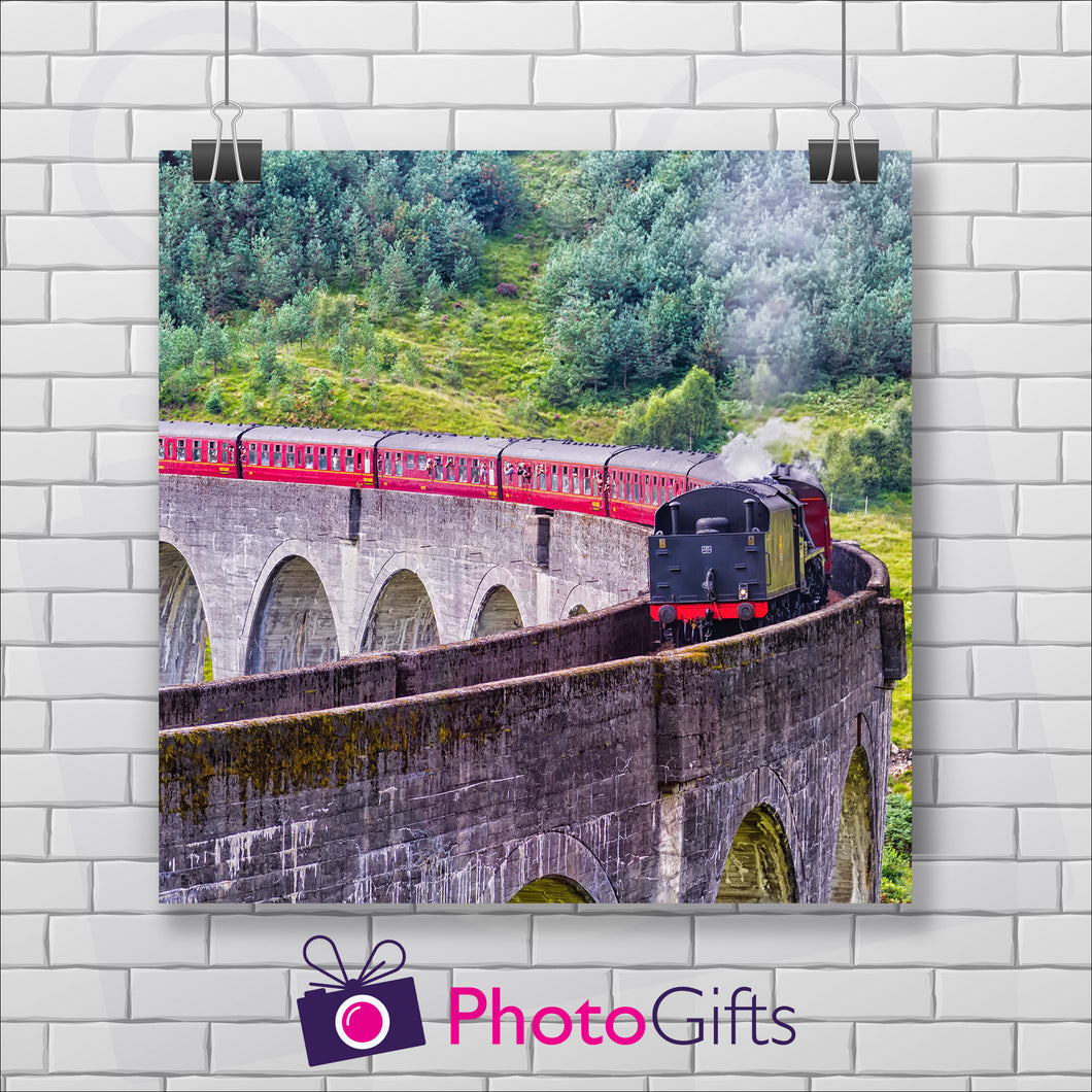 Square print of a train crossing a viaduct as printed by Photogifts.co.uk