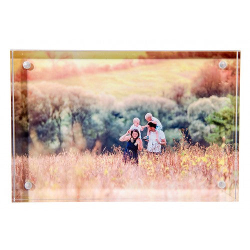Acrylic block with the picture of a family walking in a field as supplied by Photogifts.co.uk