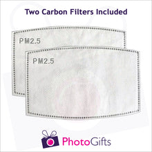 Load image into Gallery viewer, Close up picture of two carbon filters as produced by Photogifts.co.uk