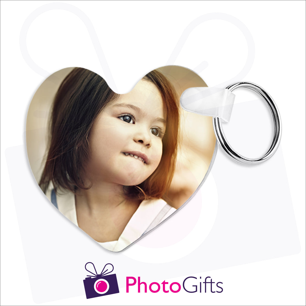 Heart shaped double sided plastic keyring that can be customised with your own chosen image as produced by Photogifts.co.uk