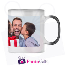 Load image into Gallery viewer, Personalised 10oz black colour change mug showing the fully heated stage with your own choice of image on the mug as produced by Photogifts.co.uk