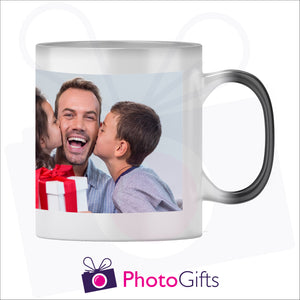 Personalised 10oz black colour change mug showing the fully heated stage with your own choice of image on the mug as produced by Photogifts.co.uk