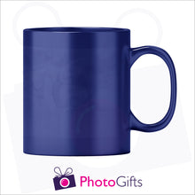 Load image into Gallery viewer, Personalised 10oz blue colour change mug showing the cold stage with your own choice of image printed on the mug as produced by Photogifts.co.uk