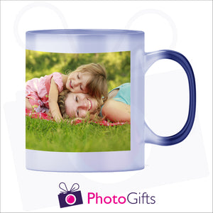 10oz blue colour change mug that has been personalised with your own choice of image in its fully hot stage as produced by Photogifts.co.uk