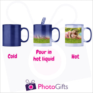 Personalised 10oz blue colour change mug showing the stages of image reveal as the mug is filled with hot liquid as produced by Photogifts.co.uk