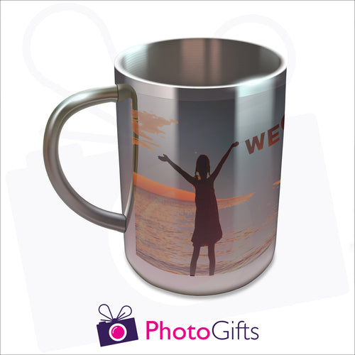 10oz personalised stainless steel insulated mug with your own choice of image on the mug as produced by Photogifts.co.uk