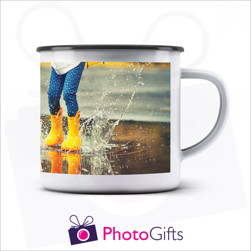 Personalised 10oz white enamel camping mug with your own choice of image on the mug as produced by Photogifts.co.uk