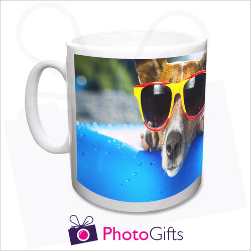 personalised white plastic 10oz mug with your own choice of image printed as produced by Photgifts.co.uk