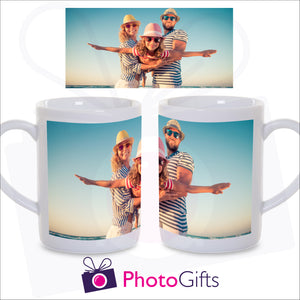 10oz personalised porcelain mug showing the wrap of the full picture which can be picked by yourself as produced by Photogifts.co.uk