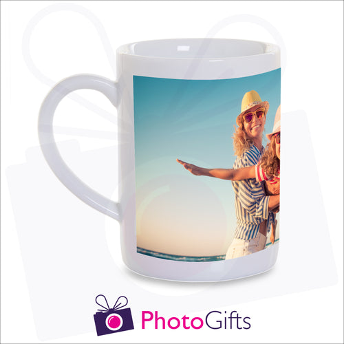 10oz personalised porcelain mug with your own choice of image on the mug as produced by Photogifts.co.uk
