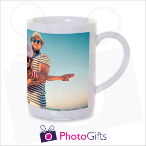 Personalised 10oz porcelain mug with your own choice of image on the mug as produced by Photogifts.co.uk