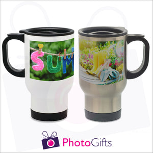 14oz personalised travel mug in silver or white gloss with your own choice of image on the mug as produced by Photogifts.co.uk