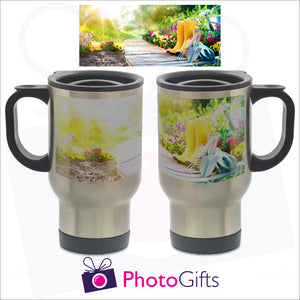 14oz silver gloss personalised travel mug with your own choice of image. The picture above is the full image and shows on the mug how it is wrapped around the mug as produced by Photogifts.co.uk