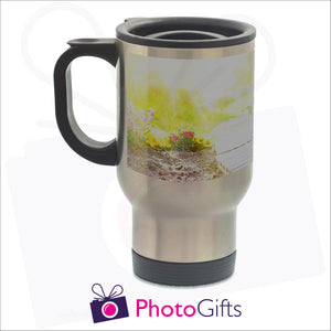 14oz personalised travel mug in silver gloss with your own choice of image on the mug as produced by Photogifts.co.uk