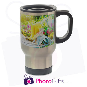 14oz personalised silver gloss travel mug with your own choice of image on the mug as produced by Photogifts.co.uk