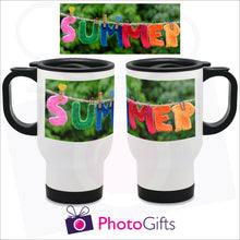 Load image into Gallery viewer, 14oz white gloss personalised travel mug with your own choice of image. The picture above is the full image and shows on the mug how it is wrapped around the mug as produced by Photogifts.co.uk