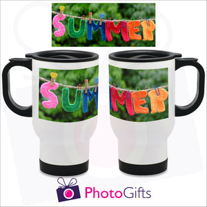 14oz white gloss personalised travel mug with your own choice of image. The picture above is the full image and shows on the mug how it is wrapped around the mug as produced by Photogifts.co.uk