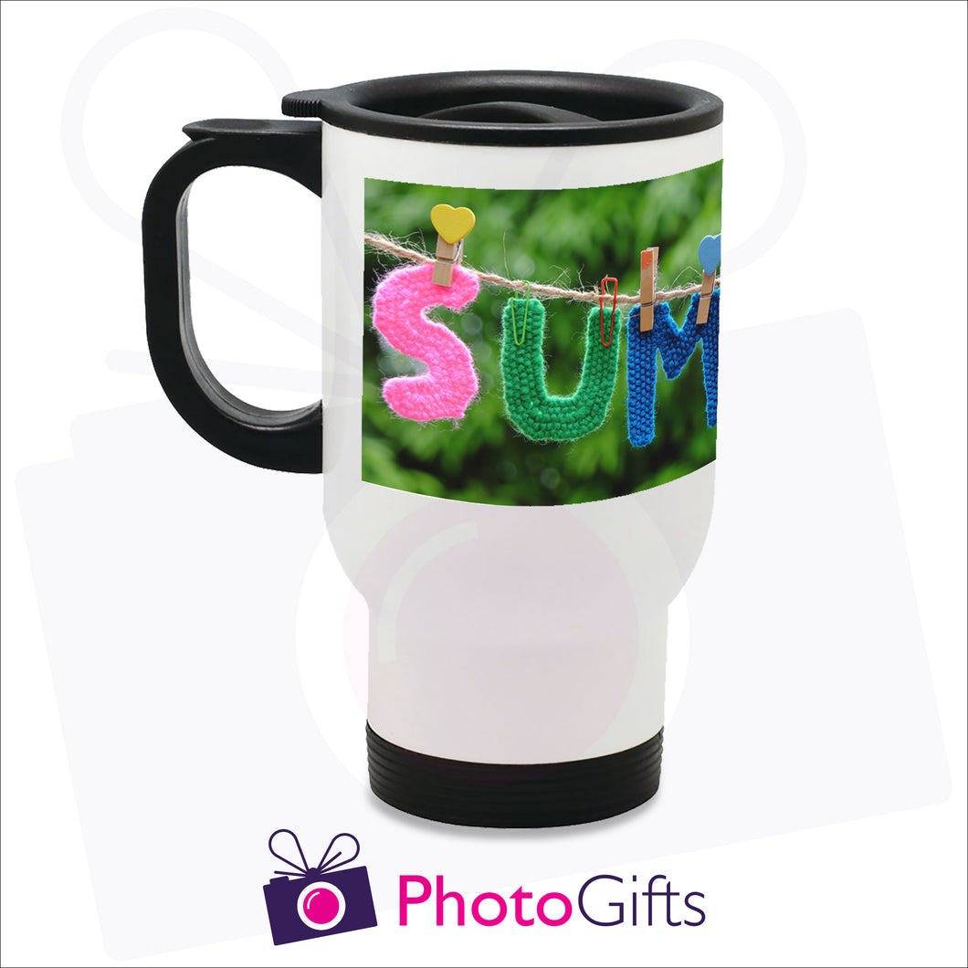 14oz personalised travel mug in white gloss with your own choice of image on the mug as produced by Photogifts.co.uk