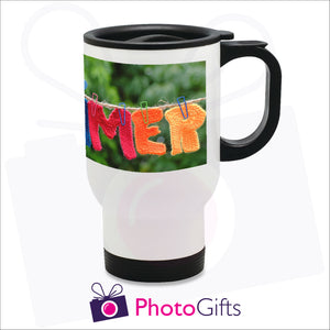 14oz personalised white gloss travel mug with your own choice of image on the mug as produced by Photogifts.co.uk