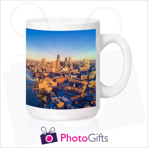 personalised mighty 15oz white mug with your own choice of image printed on the mug as produced by Photogifts.co.uk