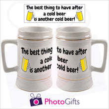 Load image into Gallery viewer, Personalised white 22oz stein with your own image printed. Image above the mugs shows the full design and the mugs shows how it wraps around the mug. As produced by Photogifts.co.uk