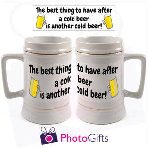 Personalised white 22oz stein with your own image printed. Image above the mugs shows the full design and the mugs shows how it wraps around the mug. As produced by Photogifts.co.uk