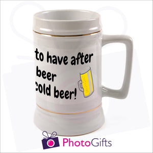 Personalised large 22oz white stein with your own choice of image printed as produced by Photogifts.co.uk