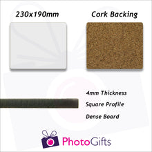 Load image into Gallery viewer, 23x19cm cork backed personalised placemat information panel giving sizes and material information as produced by Photogifts.co.uk